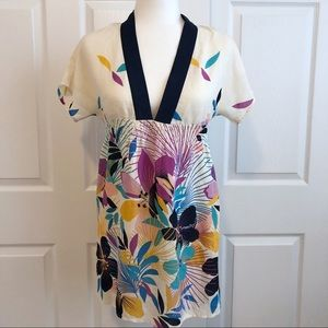 Yumi Kim Ivory & Navy Silk Floral Tunic Mini Dress